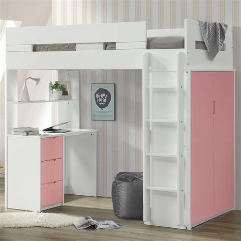 acme nerice twin loft bed  desk  wardrobe  white