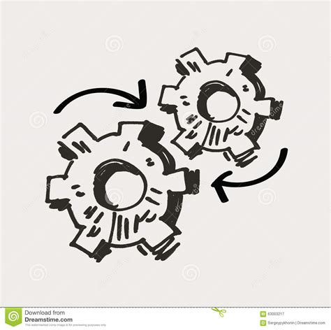 how to create mechanism in doodle gear mechanism or work doodle vector stock vector