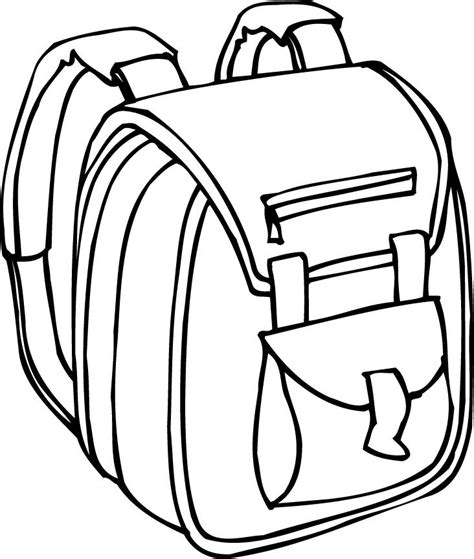 printable outline of a backpack with padded straps