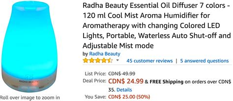 essential oil diffuser amazon amazon canada deals save 50 on radha beauty essential