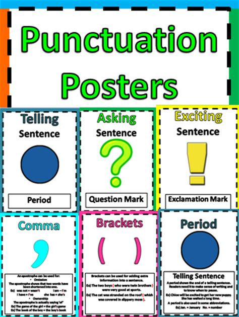 printable punctuation poster saltlifeteacher