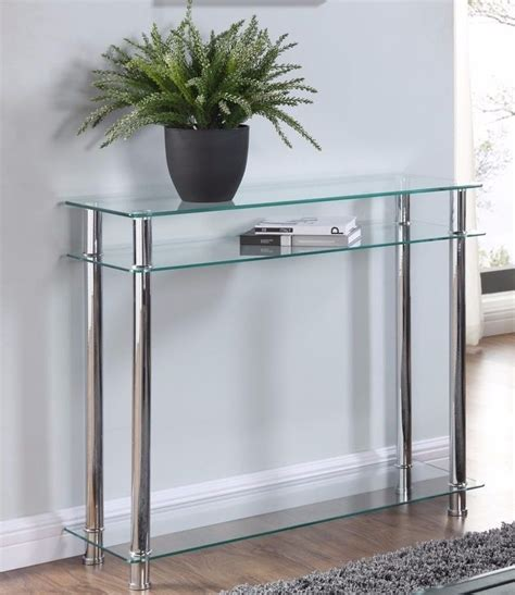clear glass console table glass console table clear or black glass chrome legs 2