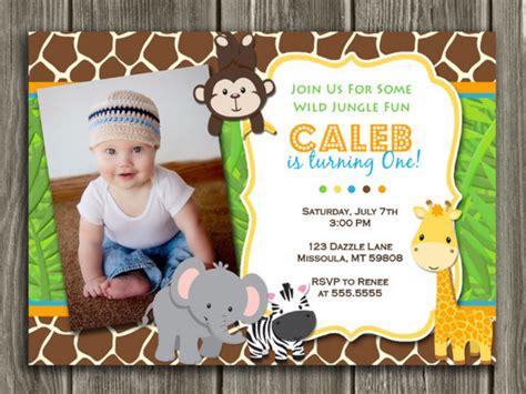 free printable birthday invitations jungle theme printable kids jungle birthday photo invitation boy