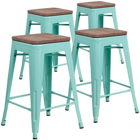 Mint Green Counter Stools by Flash Furniture 4 Pk 24 Quot High Backless Mint Green Counter