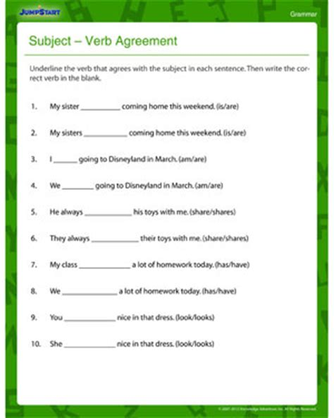 Subject Verb Agreement Printable Worksheets by Subject Verb Agreement And Printable Third Grade