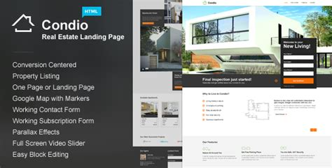 Condio Real Estate Landing Page By Themestarz Themeforest Real Estate Page Template