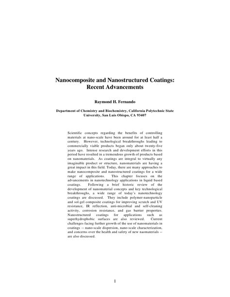 Nanostructured Coatings nanocomposite and nanostructured coatings recent advancements