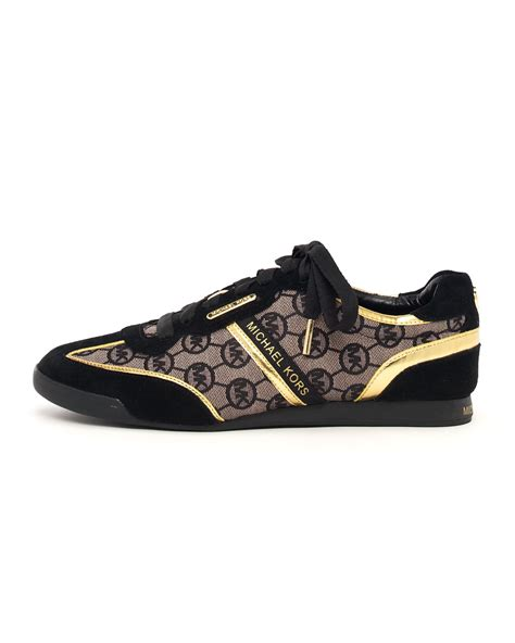 michael shoes michael michael kors monogram trainer in black lyst