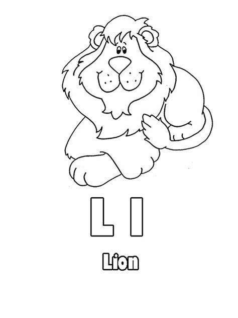 kindergarten kids learning letter l for lion coloring page