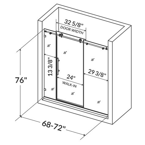 Shower Door Measurements Lesscare Glass Shower Door Ultra C 68 72 Wide X 76 High Brushed Nickel Finish Ebay