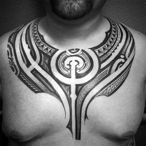 50 Polynesian Chest Tattoo Designs For Men Tribal Ideas Chest For Tribal