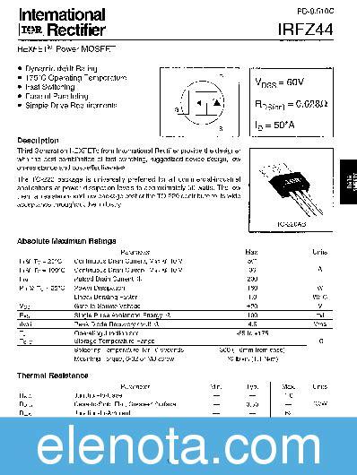 transistor irfz44 pdf transistor irfz44 datasheet 28 images irfz44 datasheet pdf vishay siliconix datasheet