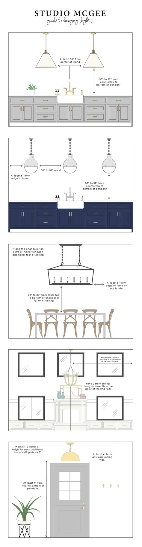 pendant lighting fixture placement guide for the kitchen studio mcgee s guide to hanging lights studio mcgee