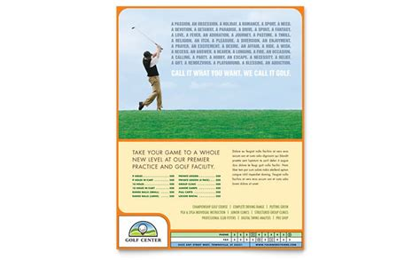 golf instructor course flyer template design