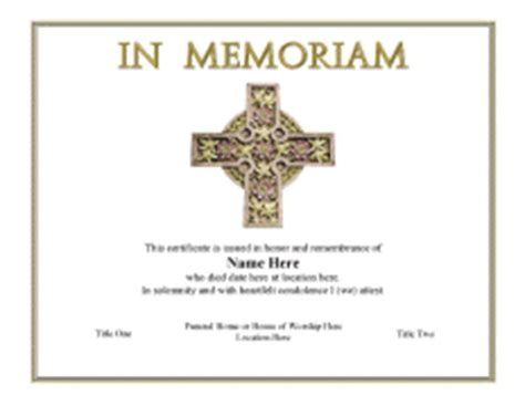 in memoriam template create certificates templates for authentic