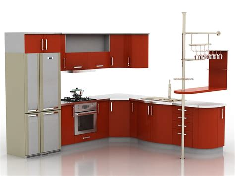 red kitchen furniture set 3ds max models free 3d models