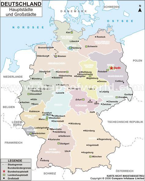 deutsche mappe karte der deutschen hauptstadte und grobstadte landkarte