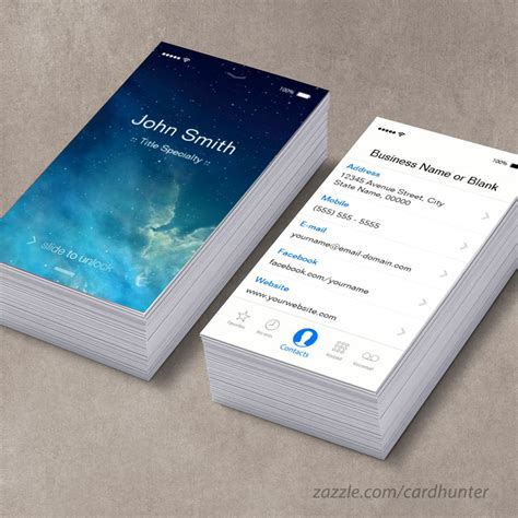 iphone business card template simple generic flat ui style unique designed business