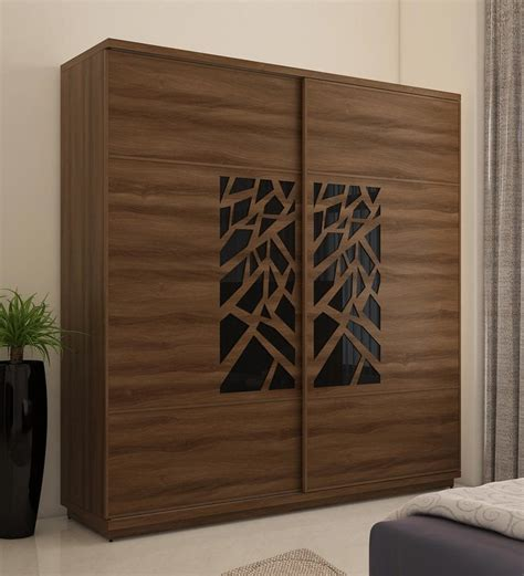 buy kosmo autumn wardrobe   sliding doors  walnut bronze woodpore melamine finish
