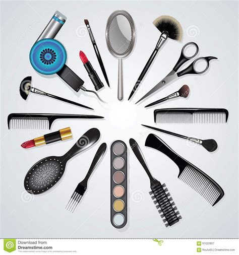 Twist Hairstyle Tools Clipart No Background by Hair Stylist And Makeup Tools Stock Vector Image 61022807