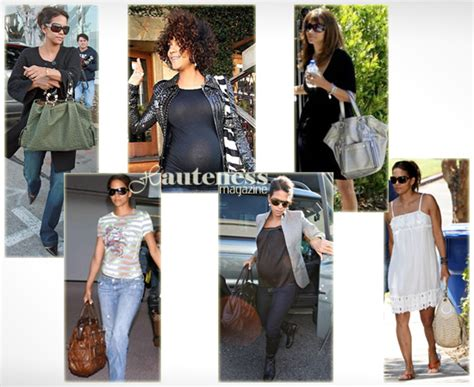 Halle Berry Works The Yves Laurent Downtown Tote the many bags of halle berry handbag du jour handbag