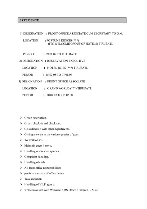 Duties Of Front Desk Executive by Resume For Front Office Associate Docx1