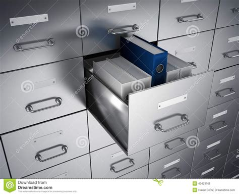 archive ring binders cabinet stock illustration