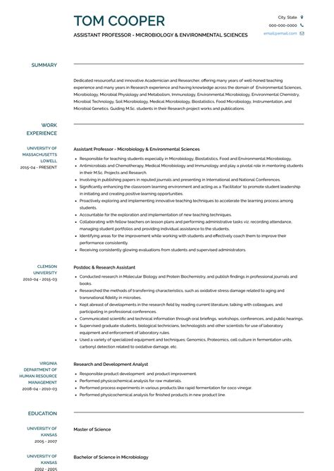 resume format for professor in college