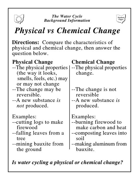Chemical Vs Physical Change Worksheet worksheets physical science chemical reaction worksheets