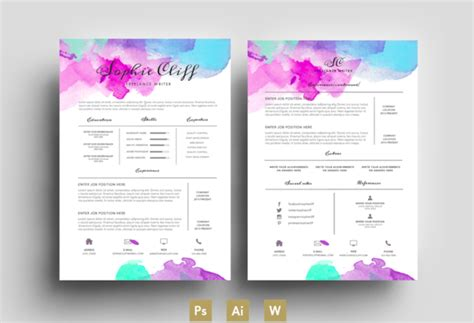 Resume Templates With Color Water Color Resume Template Psd Resume Templates On Creative Market