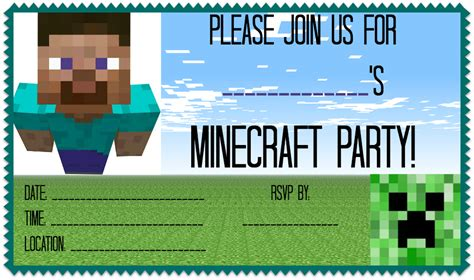 minecraft birthday card template minecraft birthday invitation wblqual