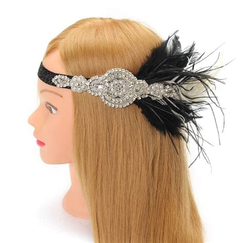 Headpiece Headband Chain rhinestone black feather headpiece gatsby headband flapper