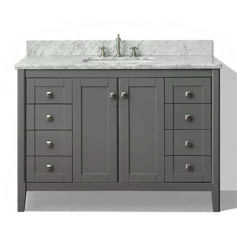 Marble Top Bathroom Vanity Shop Ancerre Designs Shelton Sapphire Gray Undermount Single Sink Bathroom Vanity With