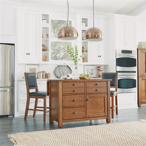 kitchen island maple home styles tahoe aged maple kitchen island with wood top and bar stools 5412 948 the home depot