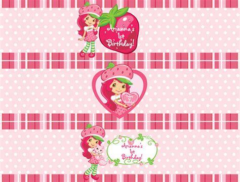 Label Segi 4 Motif Strawberry Pink strawberry shortcake water bottle labels