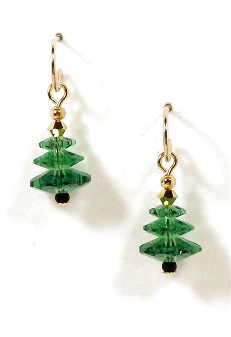 christmas earrings swarovski crystal christmas tree earrings