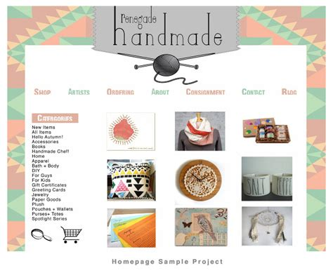 Handmade Goods Website - renegade handmade erika cleaves graphic designer