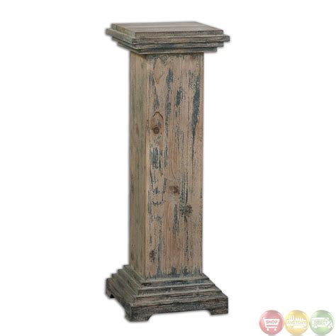 Wooden Pedestal alejo rustic weathered reclaimed wood pedestal 24352