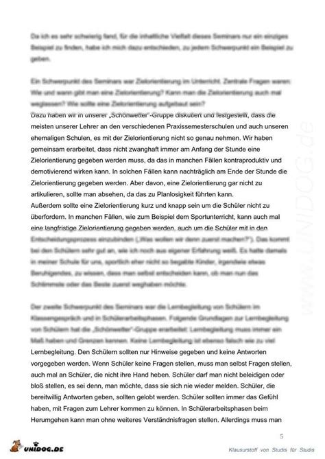Reflexion Schreiben Muster unidog praxissemesterbericht p 228 dagogische psychologie