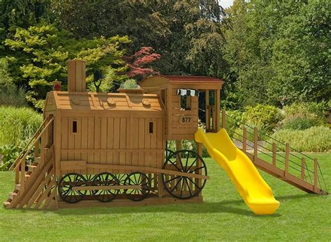 train swing set wooden train engine playset playground i want it