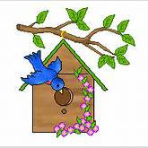 Bird clipart that includes birds on bird houses and two birds sitting ...