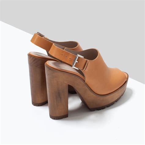 zara leather sandals zara leather sandals with track sole in beige lyst