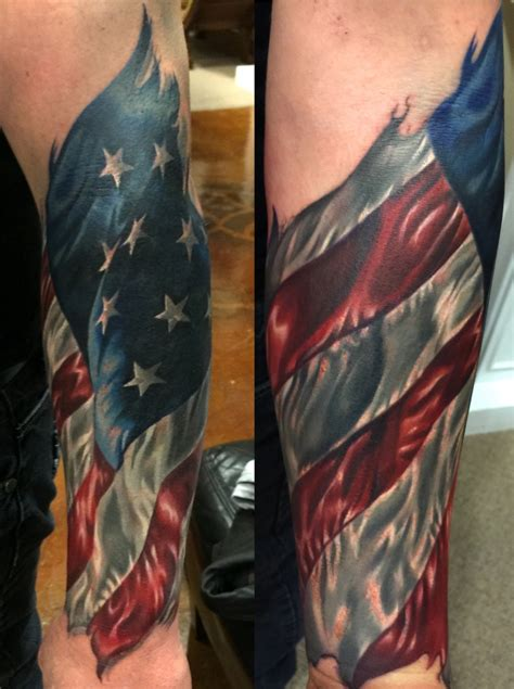 american flag forearm tattoo timothy boor tattoos