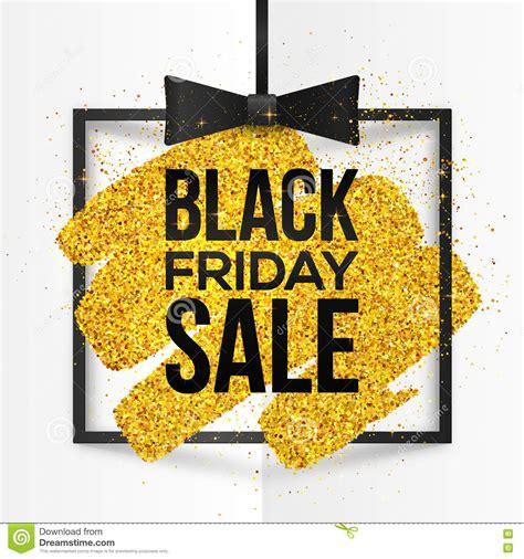black friday light sale square vector frame with golden glitter brush stroke and