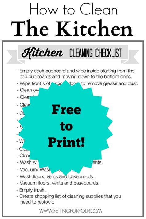 how to clean a kitchen kitchen cleaning checklist free printable setting for four