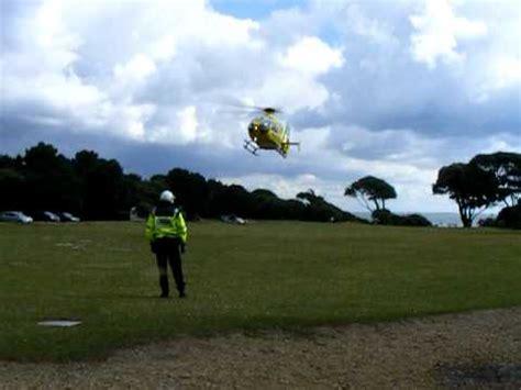 air ambulance landing at lepe beach youtube