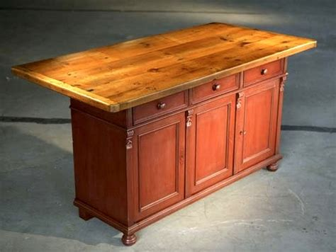 rustic barn kitchen island with farm table top