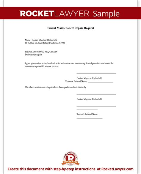 Service Request Letter For Maintenance Maintenance Request Form Tenant Maintenance Request Template