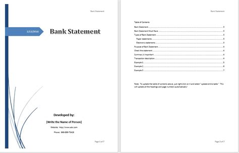 bank statement template statement template word 6 free income statement templates
