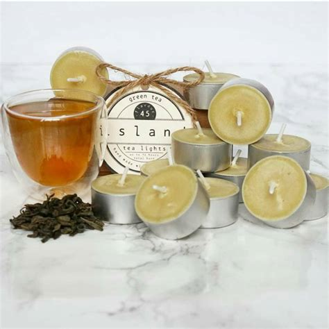 green tea scented soy tea lights by island